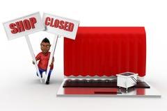 Laptop-Shop des Mann-3d geschlossen Stockfotos