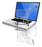 Laptop, shop on net. Shopping-cart over a white laptop isolated on white background with reflection royalty free illustration