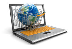 Laptop, Shopping Basket and Globe (clipping path included) Stock Images