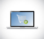 Laptop with a shopping cart button. online Stock Images