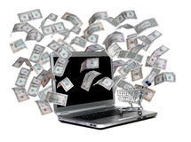 Laptop with shopping cart and flying dollars Stock Photography