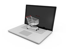 Laptop and Shopping Cart Stock Images