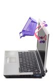 Laptop with a shopping-cart Stock Image