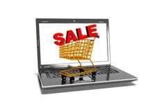 Laptop, shopping carts, sale, internet trade concept, 3d render Stock Photos