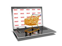 Laptop, shopping carts, sale, internet trade concept, 3d render Royalty Free Stock Photo