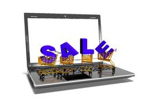 Laptop, shopping carts, sale, internet trade concept, 3d render Royalty Free Stock Photography