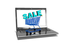 Laptop, shopping carts, sale, internet trade concept, 3d render Stock Photography