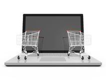 Laptop and Shopping Carts Royalty Free Stock Photography