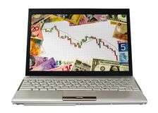 Laptop showing bear market chart Royalty Free Stock Image