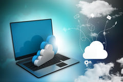 Laptop showing concept of cloud computing Royalty Free Stock Photography