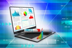 Laptop showing a financial report. In attractive color background Royalty Free Stock Photos