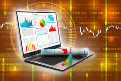 Laptop showing a financial report Stock Image