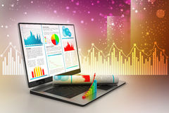 Laptop showing a financial report. In attractive color background Royalty Free Stock Image