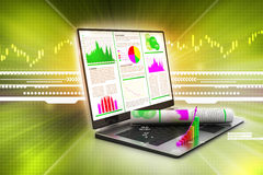 Laptop showing a financial report Stock Images