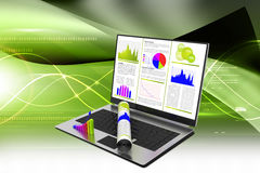 Laptop showing a financial report Royalty Free Stock Images