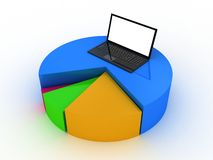 Laptop showing a spreadsheet and a paper with statistic charts, Royalty Free Stock Photography
