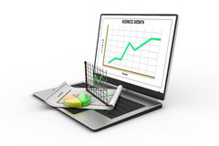 Laptop showing a spreadsheet and a paper stock illustration