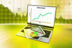 Laptop showing a spreadsheet and a paper with statistic charts. In color background Stock Images