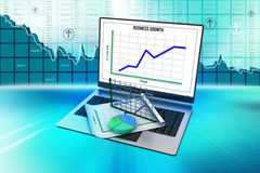 Laptop showing a spreadsheet and a paper with statistic charts. In color background Royalty Free Stock Images