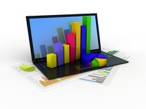 Laptop showing a spreadsheet Royalty Free Stock Images
