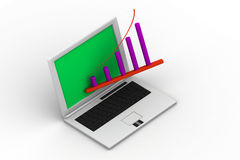 Laptop showing a spreadsheet Stock Photo