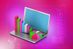 Laptop showing a statistic charts. In white background Royalty Free Stock Images