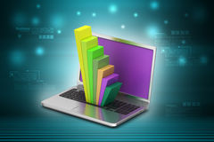 Laptop showing a statistic graph Stock Photography