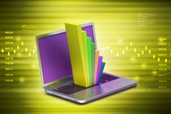 Laptop showing a statistic graph Royalty Free Stock Image