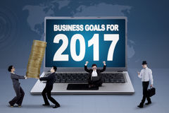 Laptop showing text of business goals for 2017 Royalty Free Stock Images