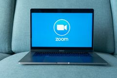 Free Laptop Showing Zoom Cloud Meetings App Logo. Stock Image - 181237171