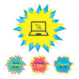 Laptop sign icon. Notebook pc with cursor symbol. Royalty Free Stock Photos