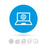 Laptop sign icon. Notebook pc with globe symbol. Stock Image