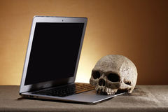 Laptop And Skull Royalty Free Stock Image