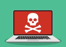 Laptop with skull on the screen. Royalty Free Stock Photos