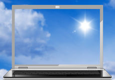 Laptop in sky Stock Photo