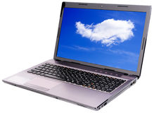 Laptop with sky wallpapers Stock Images