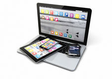 Laptop, smart phones and tablet pc Stock Photos