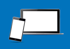 Laptop and smart phones. Vector Illustration. Laptop and smart phones on blue background. Vector Illustration Stock Images