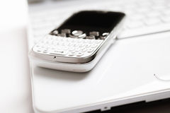 Laptop and smartphone Royalty Free Stock Photos