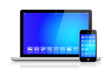 Laptop and smartphone with blue screen Stock Images