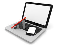 Laptop with smartphone and growth chart. Smartphone and growth chart on the top of a laptop with blank screen Stock Image