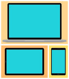 Laptop, Smartphone PC van de tablet vector illustratie