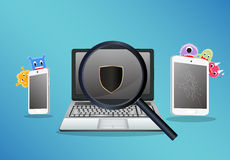 Laptop smartphone and tablet scaning for find a virus computer Stock Photo