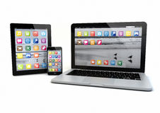 Laptop, smatrp phone and tablet pc Royalty Free Stock Photography