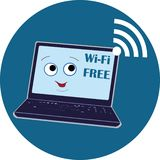 The laptop with a smile, the symbol of wi-fi is free, vector, For user interface, web games, tablets, Wallpapers and templates. royalty free illustration