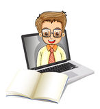 A laptop with a smiling man wearing glasses Stock Photography