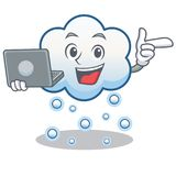 With laptop snow cloud character cartoon Stock Images