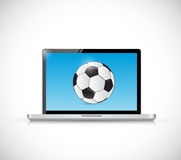 Laptop and soccer ball. illustration design Royalty Free Stock Photo