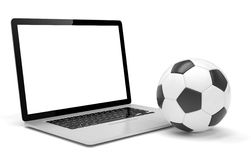 Laptop and soccer football ball. on line soccer Stock Image