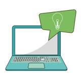 Laptop social media bubble speech idea Stock Photos